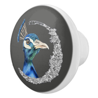 Peacock Watercolor with Faux Silver Glitter Ceramic Knob