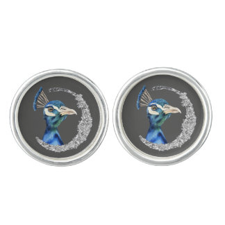 Peacock Watercolor with Faux Silver Glitter Cufflinks