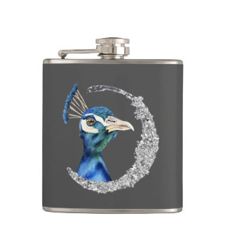 Peacock Watercolor with Faux Silver Glitter Hip Flask
