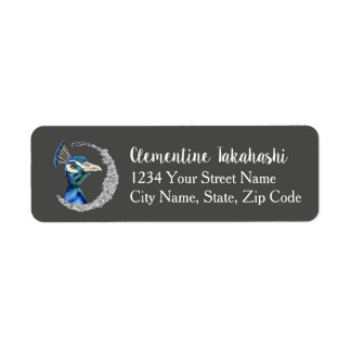 Peacock Watercolor with Faux Silver Glitter Return Address Label
