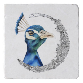 Peacock Watercolor with Faux Silver Glitter Trivet