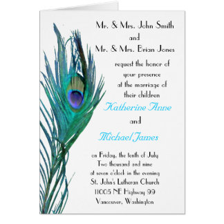 Peacock Wedding Invitation Greeting Card