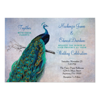 Peacock Wedding Invitation Vintage Blue Elegant