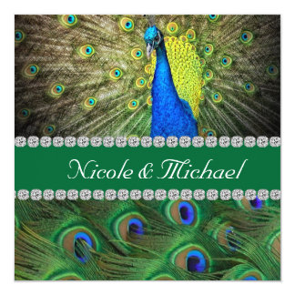 PEACOCK  WEDDING  INVITATION WITH FEATHERS & BLING