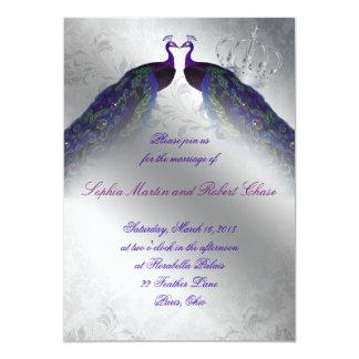 Peacock Wedding Invite Indigo Vintage Silver