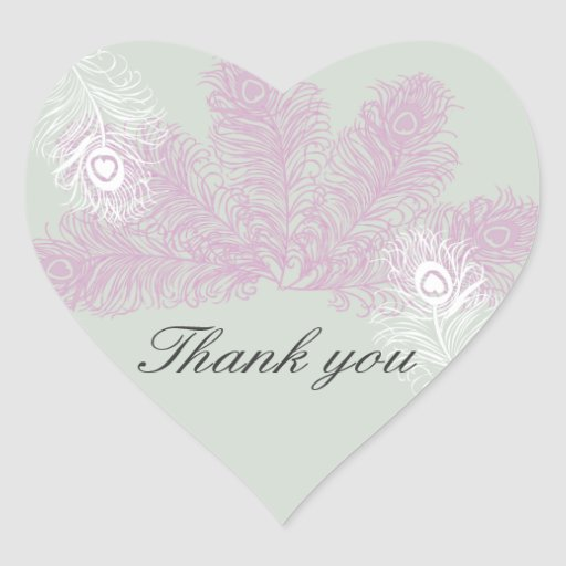 Peacock Wedding Lilac and White Feathers Heart Sticker