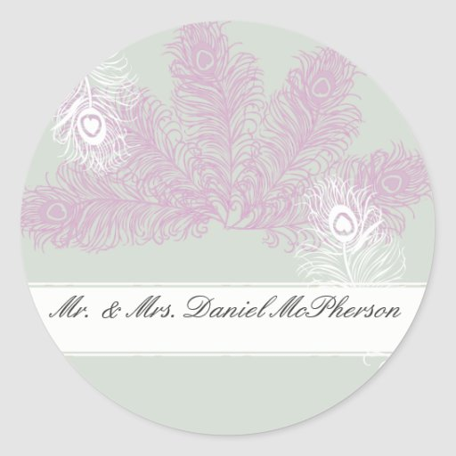 Peacock Wedding Lilac and White Feathers Stickers