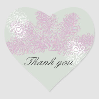 Peacock Wedding Lilac White Feather Thank You Heart Sticker