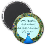 Peacock Wedding Save The Date Magnet 6 Cm Round Magnet
