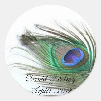 Peacock Wedding Round Stickers