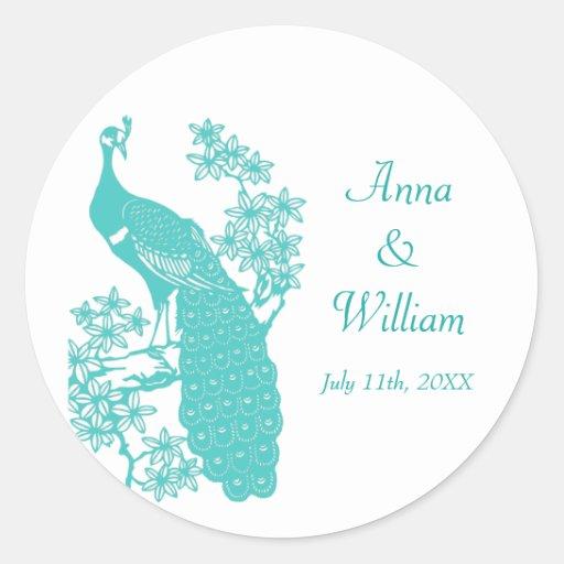 Peacock Wedding Sticker