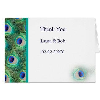 peacock wedding Thank You Note Card