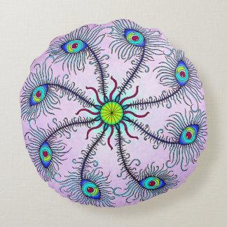 Peacock Wheel Mandala Throw Pillow