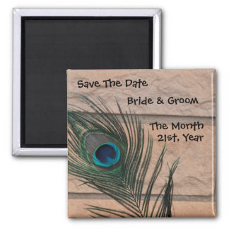 Peacock with Bricks Wedding Save the Date Square Magnet