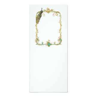 Peacock with Gold Baroque Frame Invitation Card