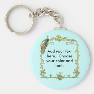 Peacock with Gold Frame Ornate Art Print Basic Round Button Key Ring