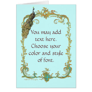 Peacock with Gold Frame Ornate Art Print Greeting Card