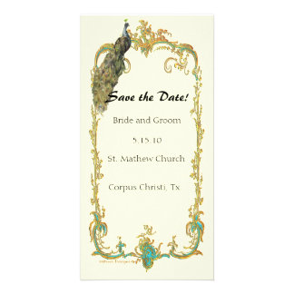 """Peacock with Gold Frame """"Save the Date"""" Card"""