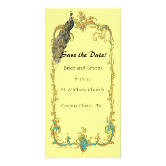 """Peacock with Gold Frame """"Save the Date"""" Card Customised Photo Card"""