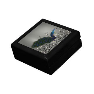 Peacock with Japanese blossom Small Square Gift Box