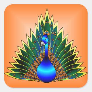 Peacock With Orange Background Square Sticker