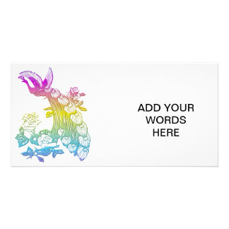 Peacock with roses personalised photo card
