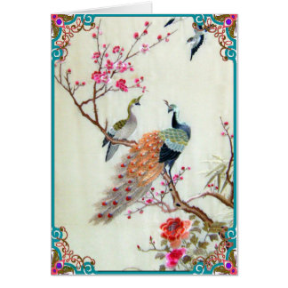 Peacocks and Plum Blossoms Greeting Card