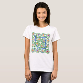 Peacocks Feathers Embroidery-Style T-Shirt