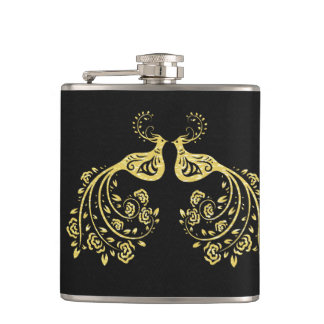 Peacocks in Love Hip Flask