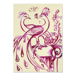 PEACOCKS IN LOVE MONOGRAM 2 red pink gold Card