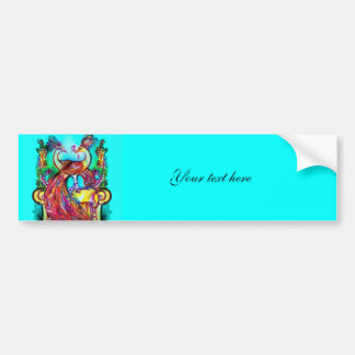 PEACOCKS IN LOVE  MONOGRAM red blue turquase green Bumper Sticker