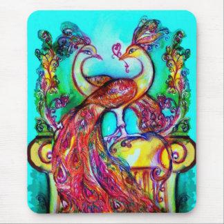 PEACOCKS IN LOVE  MONOGRAM red blue turquase green Mousepad