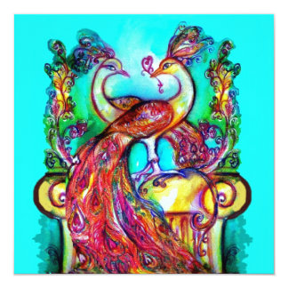 PEACOCKS IN LOVE Red Teal Green Aqua Blue Wedding Card