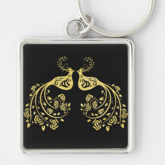 Peacocks in Love Silver-Colored Square Key Ring