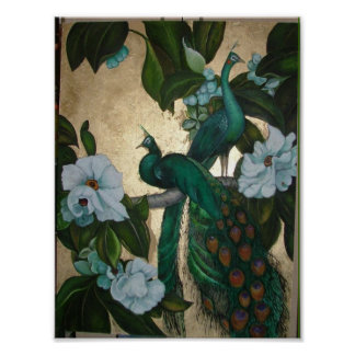 Peacocks in Magnolia Tree Poster