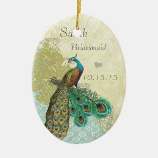 Peacocl Vintage Bird Maid of Honor Ornaments