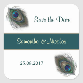 Peacok feathers Wedding Sticker Save the Date