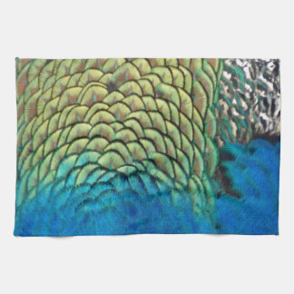 Peafowl Feathers Deep Blue And Gold Colors Hand Towel