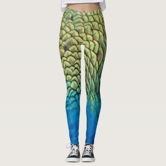 Peafowl Feathers Deep Blue And Gold Leggings