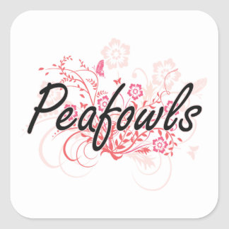 Peafowls with flowers background square sticker