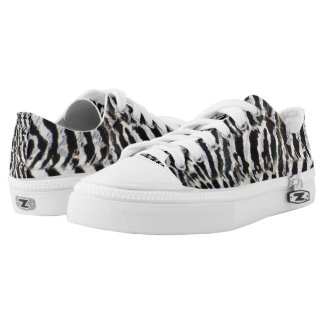Peahen Feathers Print Low Top Shoes Printed Shoes