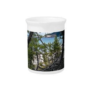 Peaking through trees pitcher