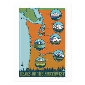 Peaks of the Northwest - 5 Different Mountains Postcard