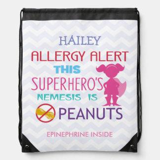 Peanut Allergy Alert Superhero Girl Drawstring Bag