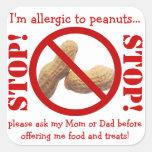 Peanut Allergy Party or Field Trip Warning Sticker