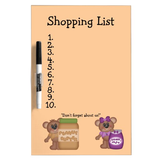 Peanut Butter and Jelly Bears Dry-Erase Whiteboards