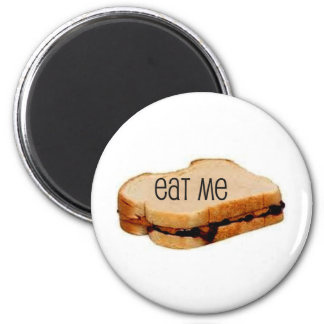 """Peanut Butter and Jelly """"EAT ME"""" SANDWICH PRINT 6 Cm Round Magnet"""
