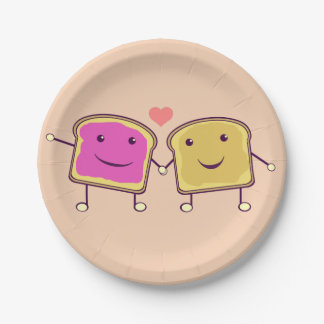 Peanut Butter and Jelly Pals 7 Inch Paper Plate