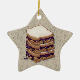 Peanut Butter and Jelly Sandwiches Ceramic Star Decoration