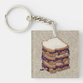 Peanut Butter and Jelly Sandwiches Double-Sided Square Acrylic Key Ring